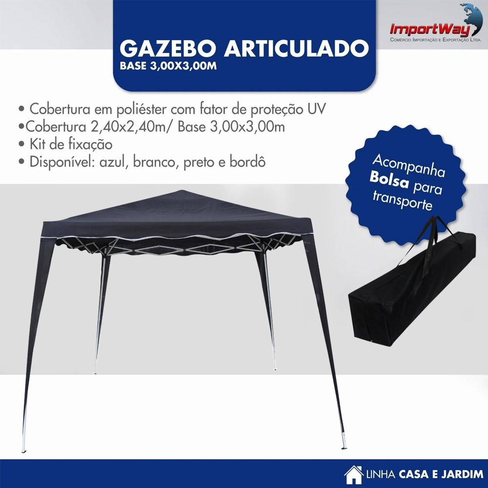 Tenda Gazebo 2,4x2,4m Articulado Importway Preto IWGZA240PR