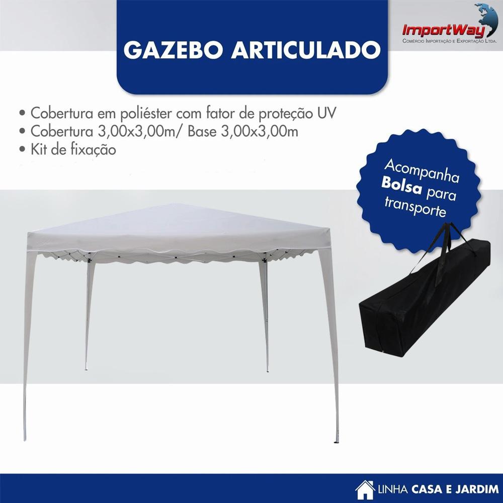 Tenda Gazebo 3x3m Articulado Importway Branco IWGZA3BR
