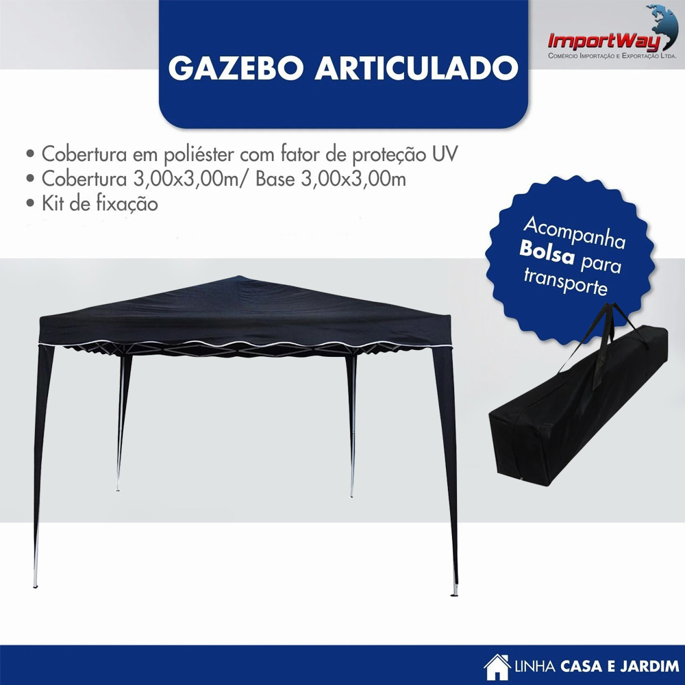 Tenda Gazebo 3x3m Articulado Importway Preto IWGZA3PR