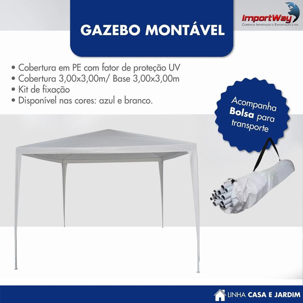 Tenda Gazebo 3x3m Montável Importway Branco IWGZM3BR