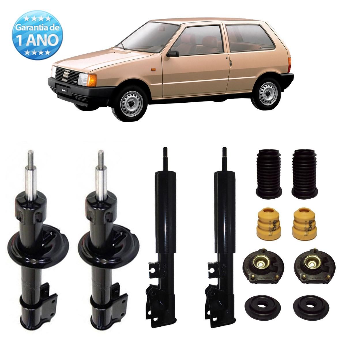 04 Amortecedores Remanufaturados Fiat Uno 1993 Até 2004 + Kit da Suspensão