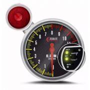 Conta Giro Automotivo Tuning Cromado com Fundo Carbono LED 7 Cores com Shift Light Vermelho