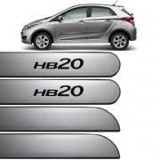 Jogo Friso Lateral HB20 Hatch 2013 até 2017 Prata Metal