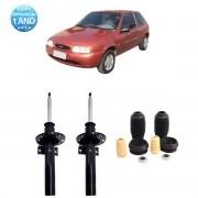 Par de Amortecedores Dianteiro Remanufaturados Ford Fiesta Nacional 1996 Até 2002 + Kit da Suspensão