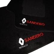 Tapete Carpete Personalizado Logo Bordada Sandero 2007 até 2014