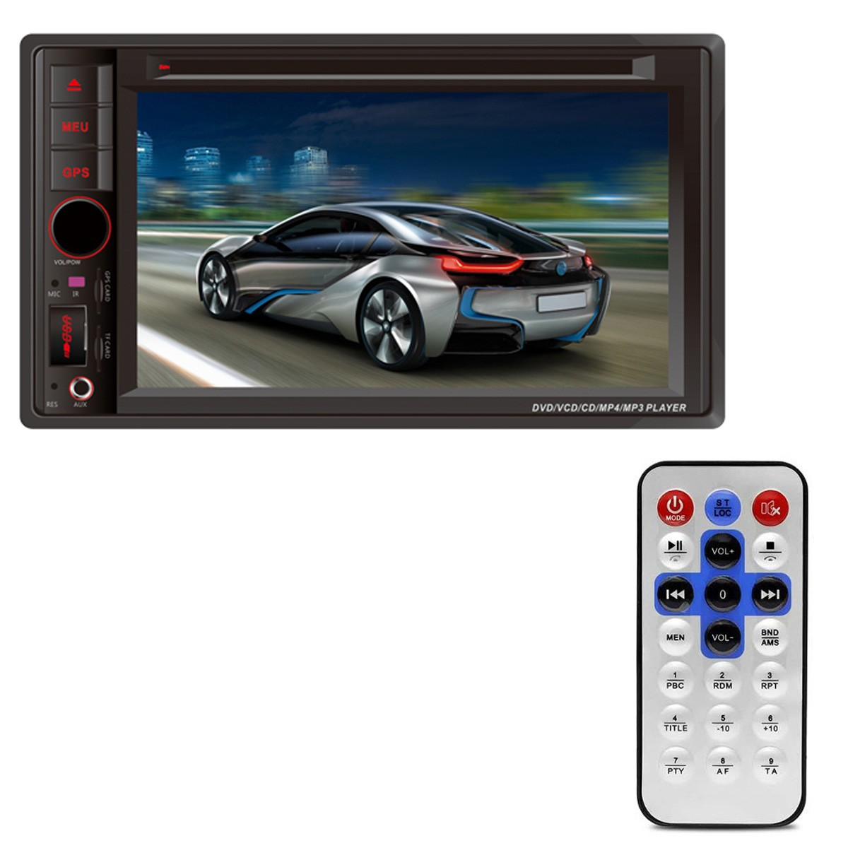 Central Multimídia FirstOption 2 Din 6.2 Polegadas DVD USB SD TV GPS AUX MP4 VCR Bluetooth