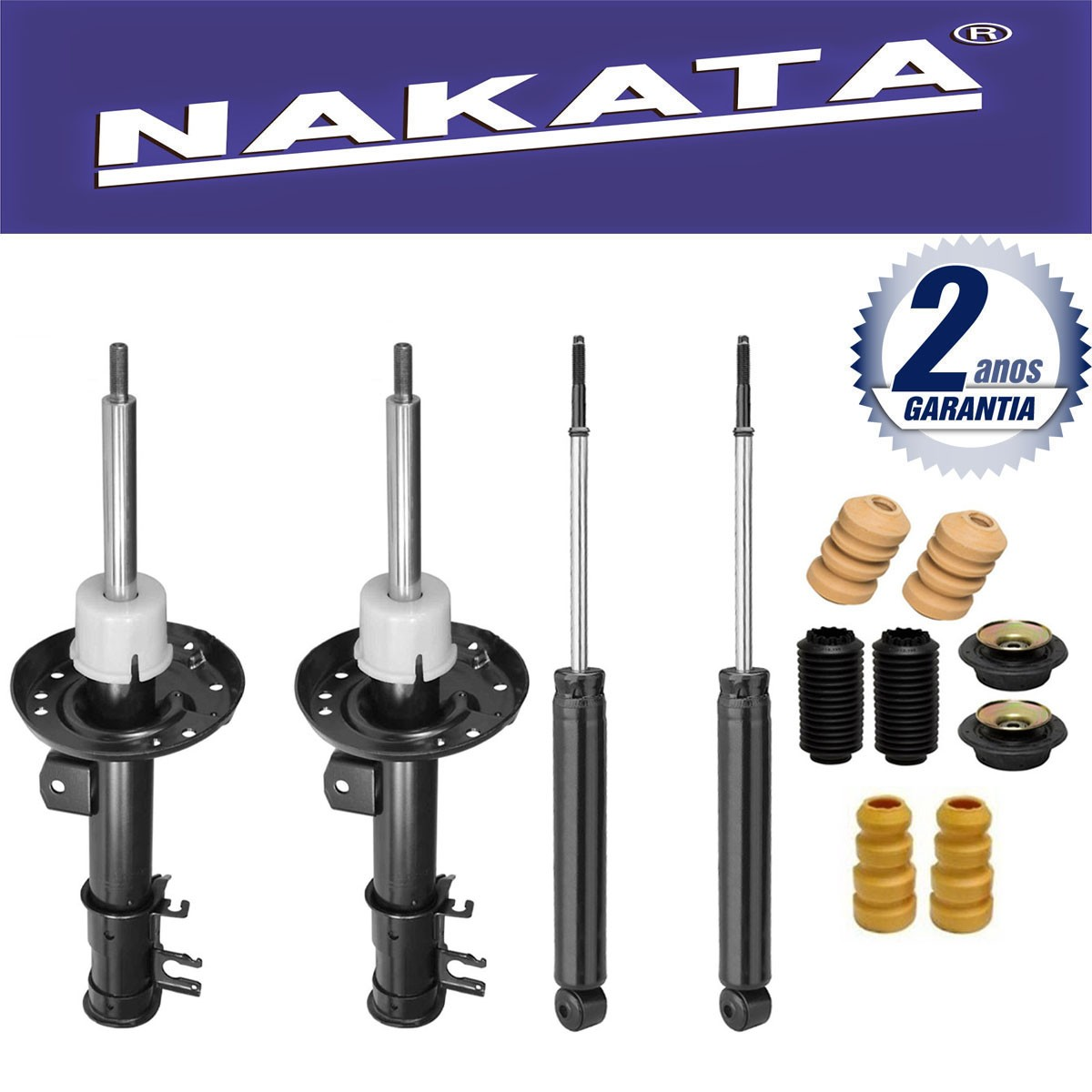 Jogo 04 Amortecedores Nakata Honda Fit 2003 Até 2008 + Kit de Suspensão