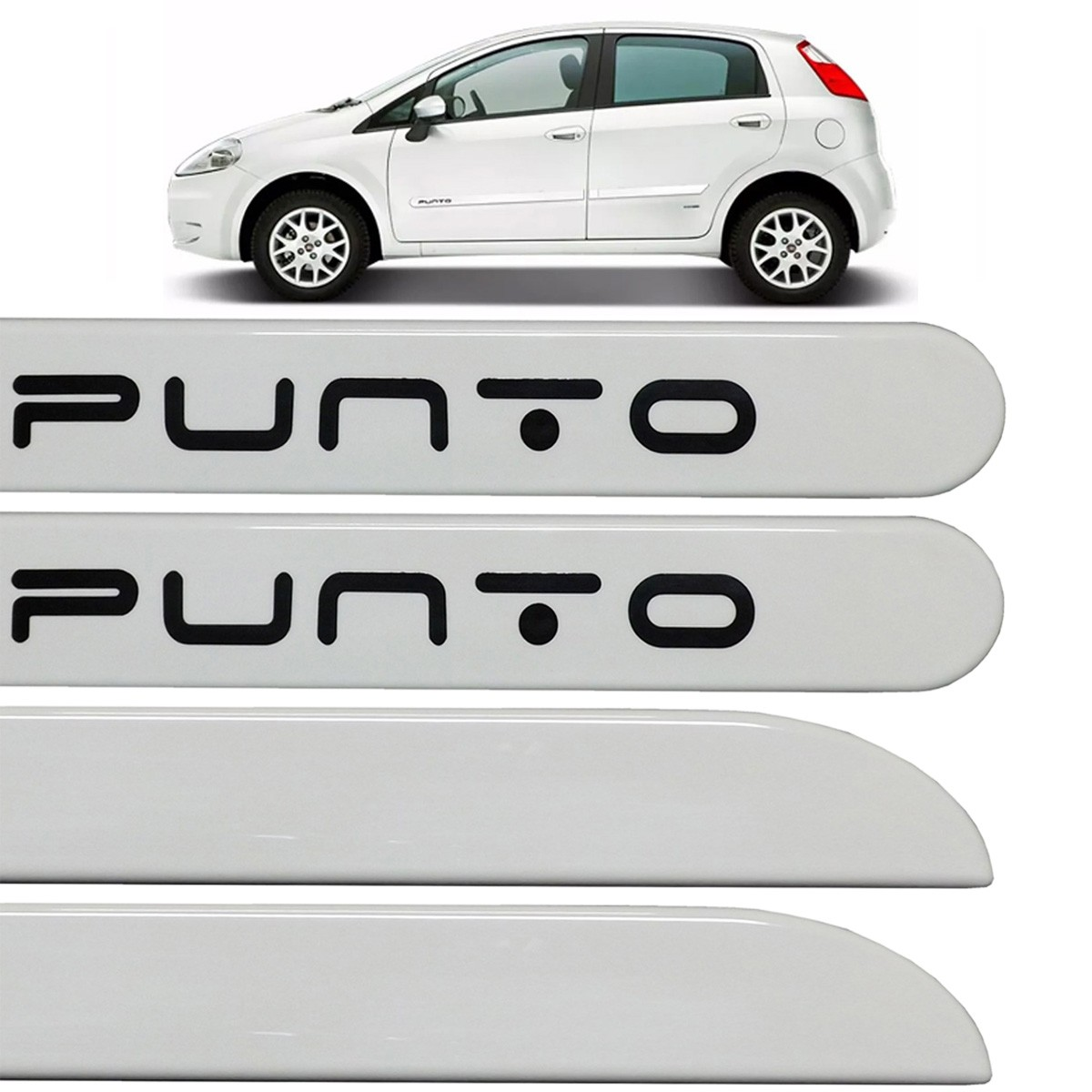 Jogo Friso Lateral Fiat Punto 2013 2014 2015 Branco Banchisa