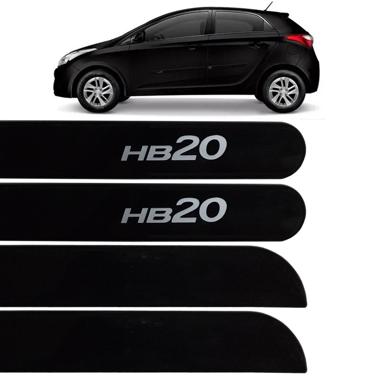 Jogo Friso Lateral HB20 Hatch 2013 até 2017 Preto Phantom