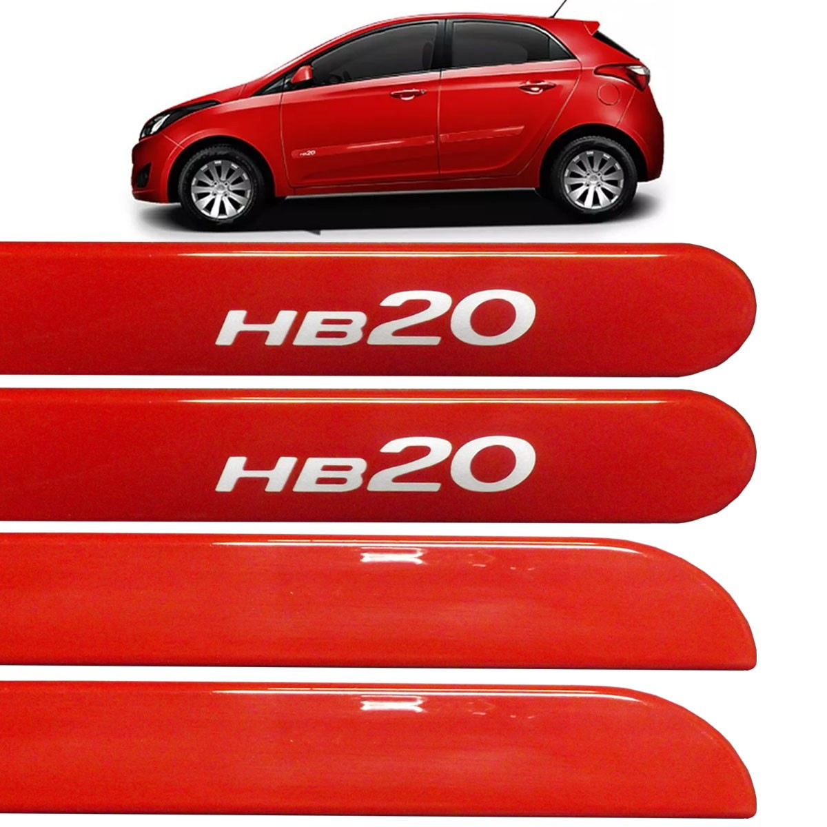 Jogo Friso Lateral HB20 Hatch 2013 até 2017 Vermelho Tropical