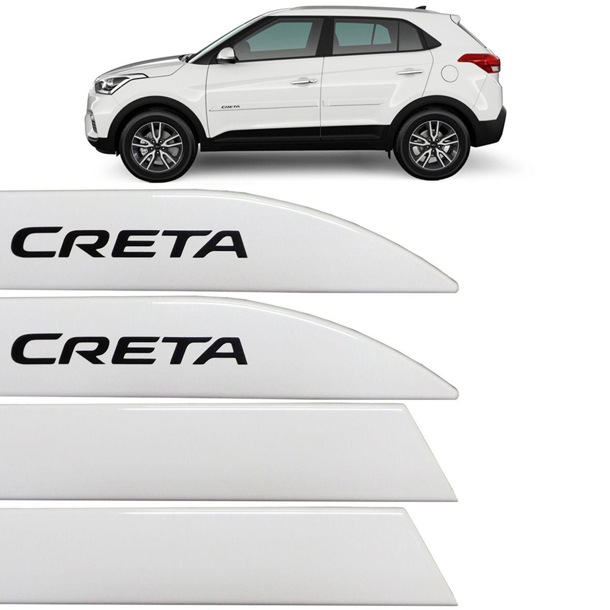 Jogo Friso Lateral Hyundai Creta 2017 Até 2018 Branco Polar