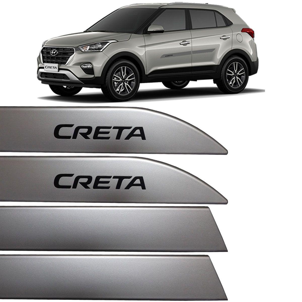Jogo Friso Lateral Hyundai Creta 2017 Até 2018 Prata Metal