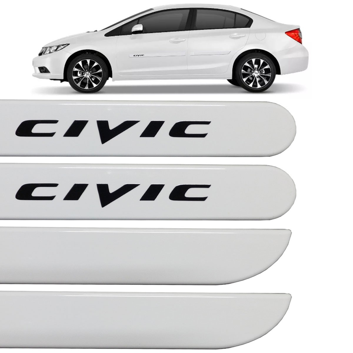 Jogo Friso Lateral New Civic 2012 até 2017 Branco Taffeta