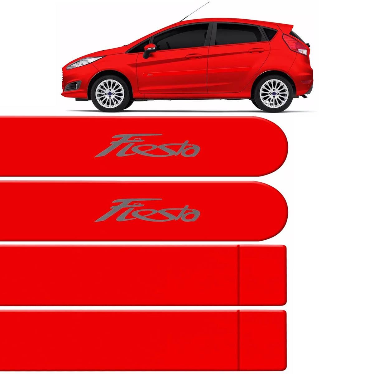 Jogo Friso Lateral New Fiesta 2013 até 2017 Vermelho Arizona