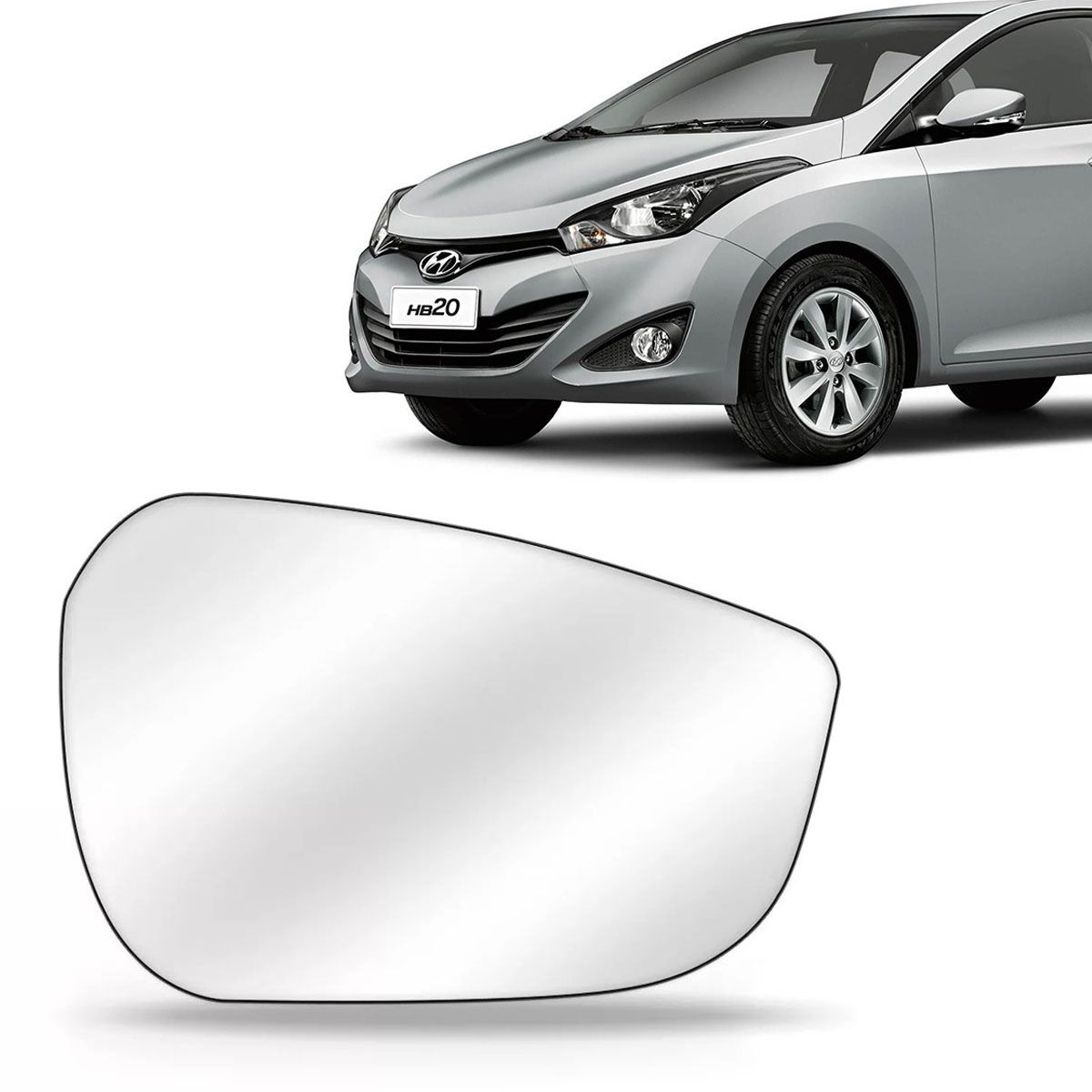Lente Retrovisor Hb20 Hatch e Sedan 2012 Até 2018 Com Base Lado Esquerdo