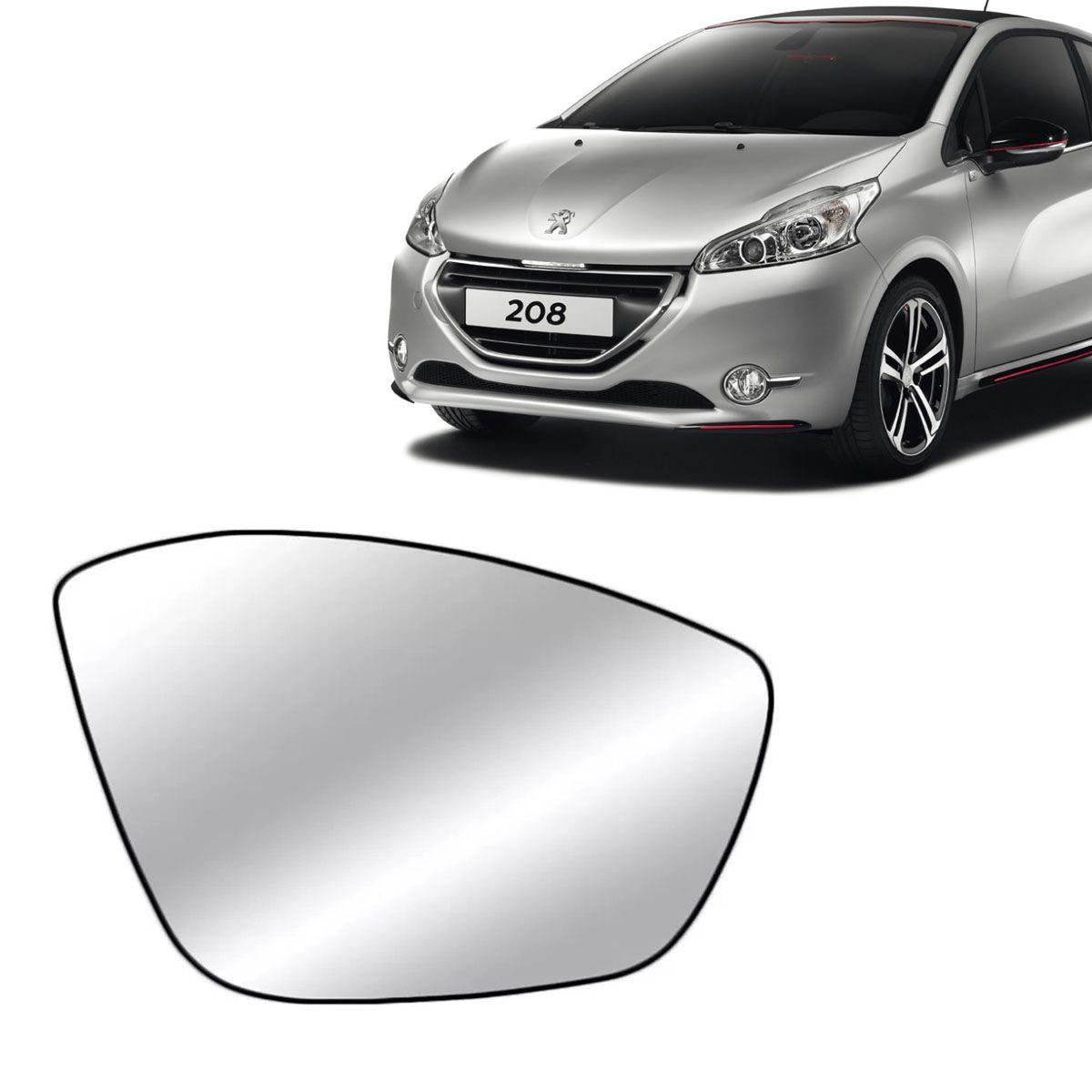 Lente Retrovisor Peugeot 208 2012 Até 2018 Peugeot 2008 2015 Até 2018 Com Base Lado Esquerdo
