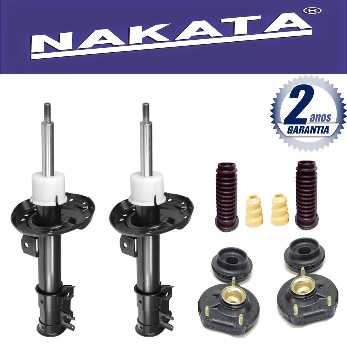 Par de Amortecedores Dianteiro Nakata Fiat Linea 2008 Até 2014 + Kit da Suspensão