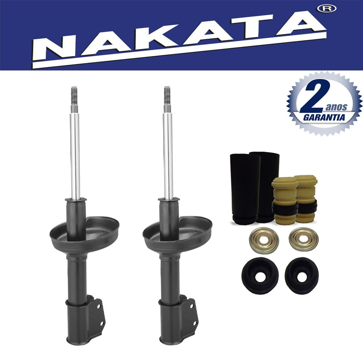 Par de Amortecedores Dianteiro Nakata Renault Clio 1.0 1999 Até 2012 + Kit da Suspensão