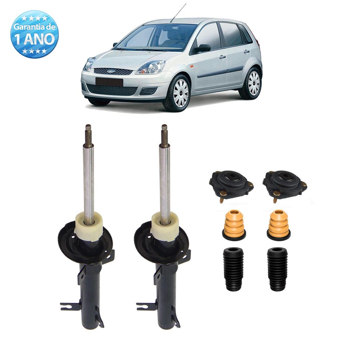 Par de Amortecedores Dianteiro Remanufaturados Ford Fiesta Hatch e Sedan 2003 Até 2013 + Kit da Suspensão