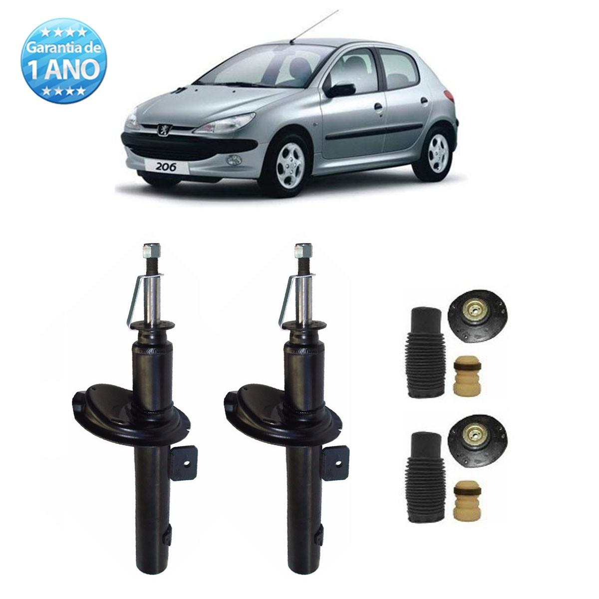Par de Amortecedores Dianteiro Remanufaturados Peugeot 206 1.0 e Sw 1999 Até 2010 + Kit da Suspensão