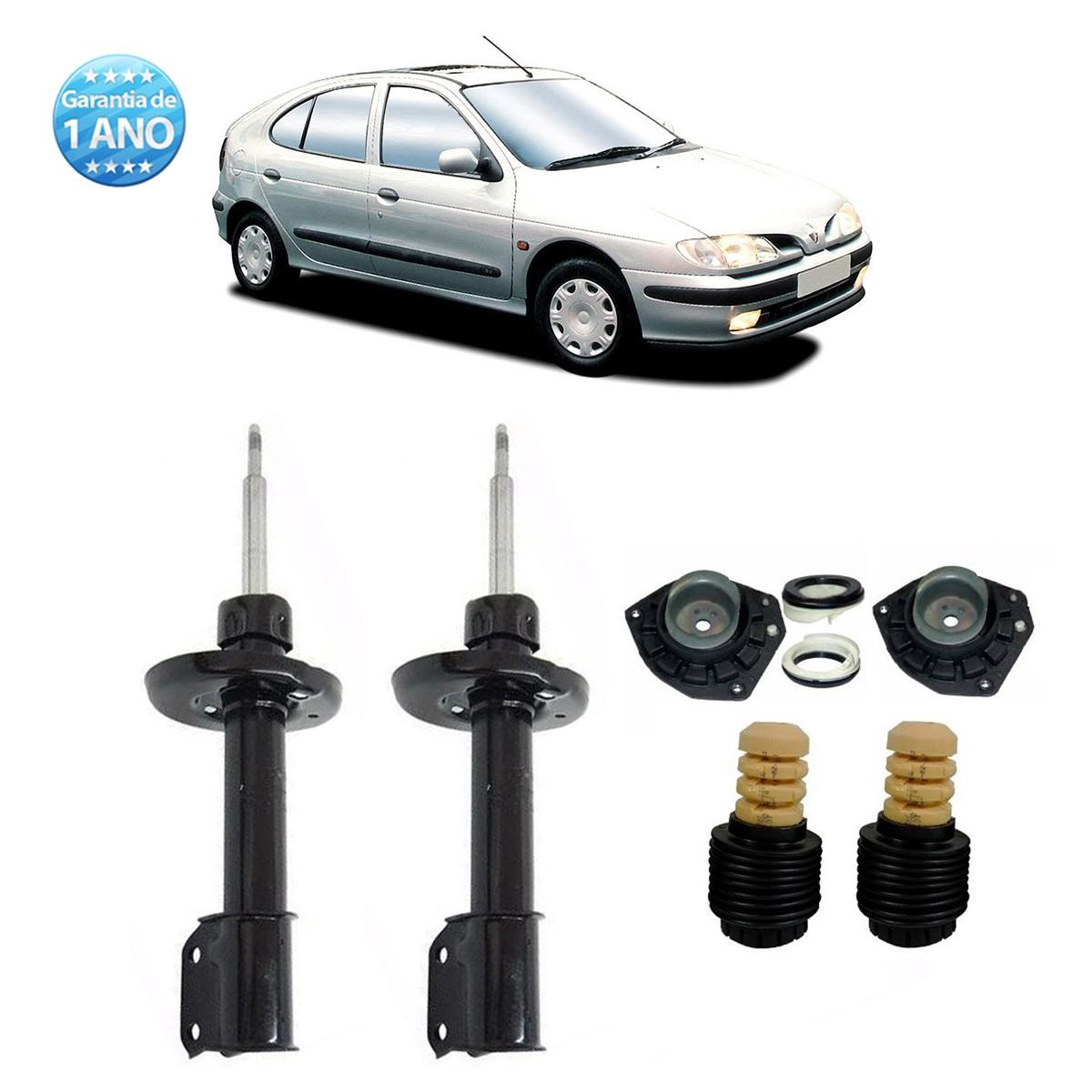 Par de Amortecedores Dianteiro Remanufaturados Renault Megane 1996 Até 2006 Scenic 1996 Até 2011 + Kit da Suspensão