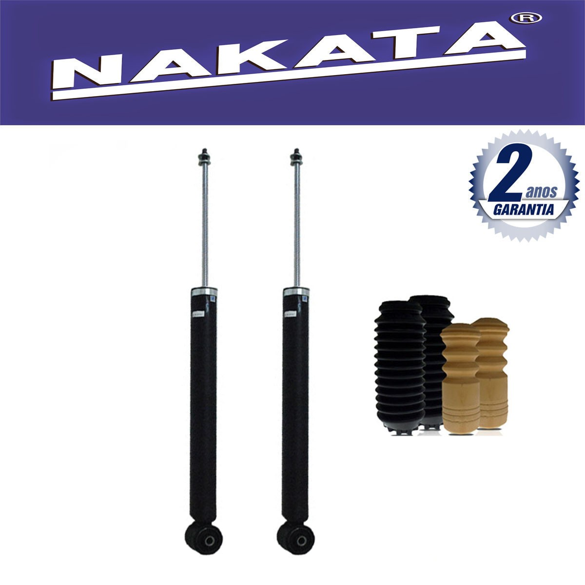 Par de Amortecedores Traseiro Nakata Audi A3 1996 Até 2006 Golf 1998 Até 2010 Bora 2000 Até 2010 New Beetle 1998 Até 2005 + Kit da Suspensão