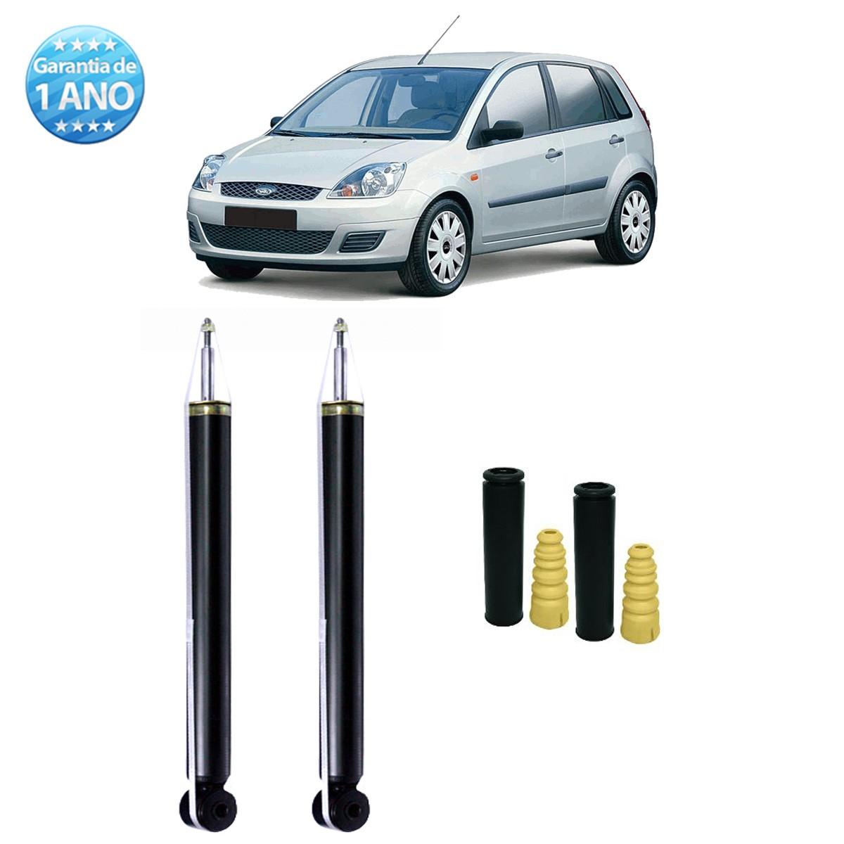 Par de Amortecedores Traseiro Remanufaturados Ford Fiesta Hatch e Sedan 2003 Até 2013 + Kit da Suspensão