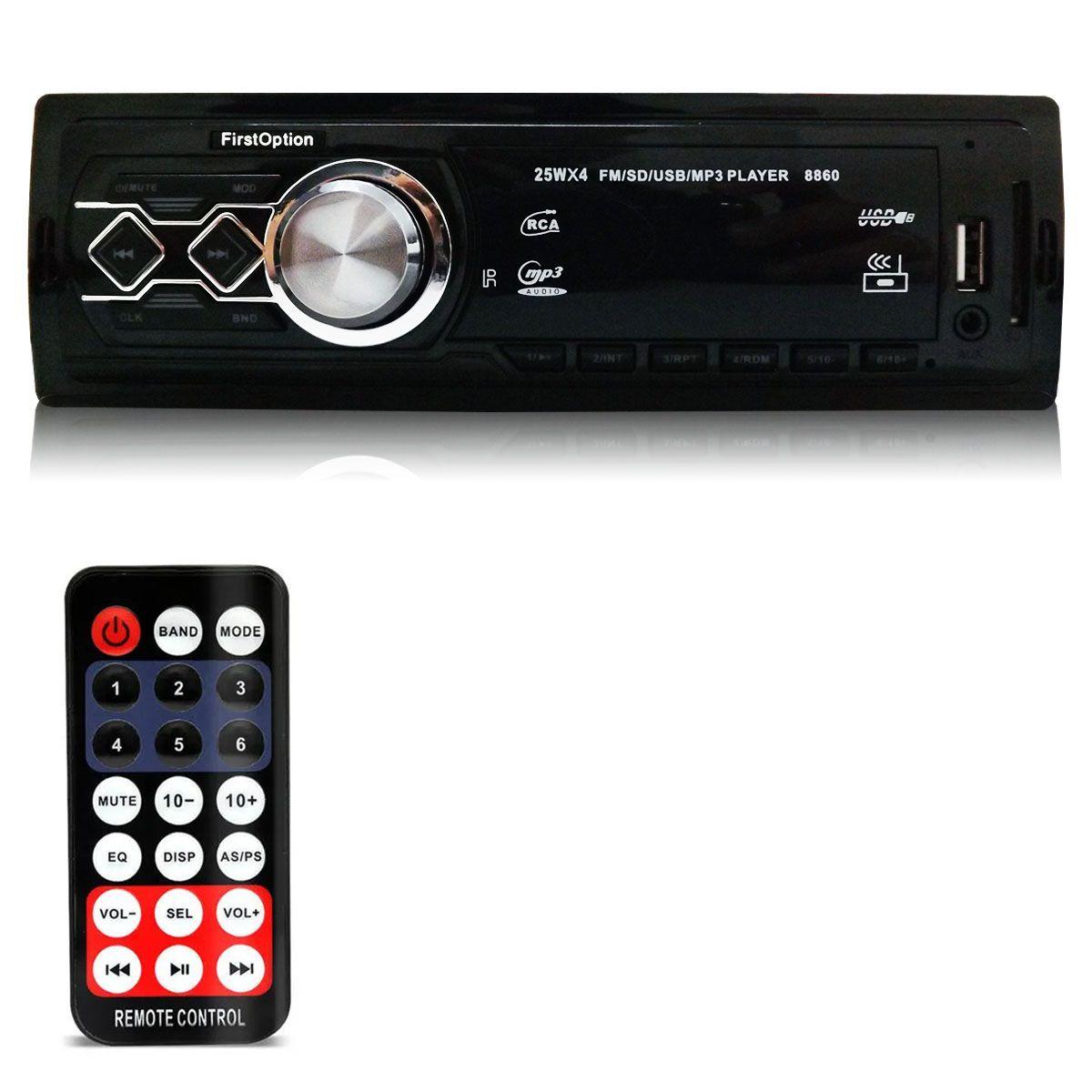 Rádio Automotivo Mp3 Player Usb Aux Sd Fm First Option 8860