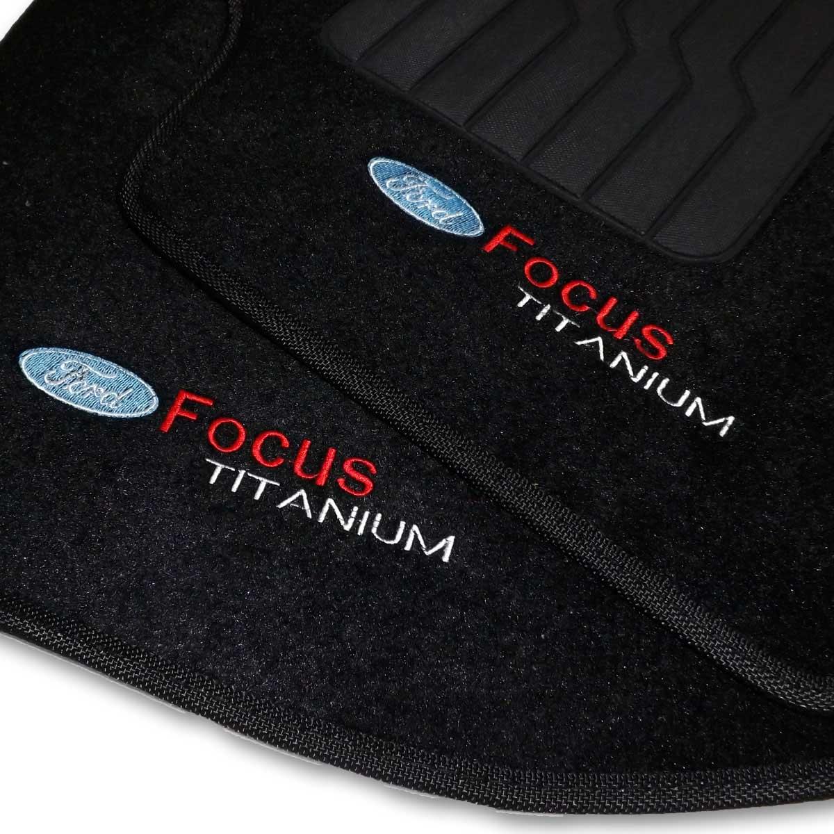 Tapete Carpete Personalizado Logo Bordada Ford Focus Titanium 2011 até 2013
