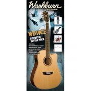 Washburn WD10CE Dreadnought Kit de Violão Pack com Bag Correia DVD Palhetas