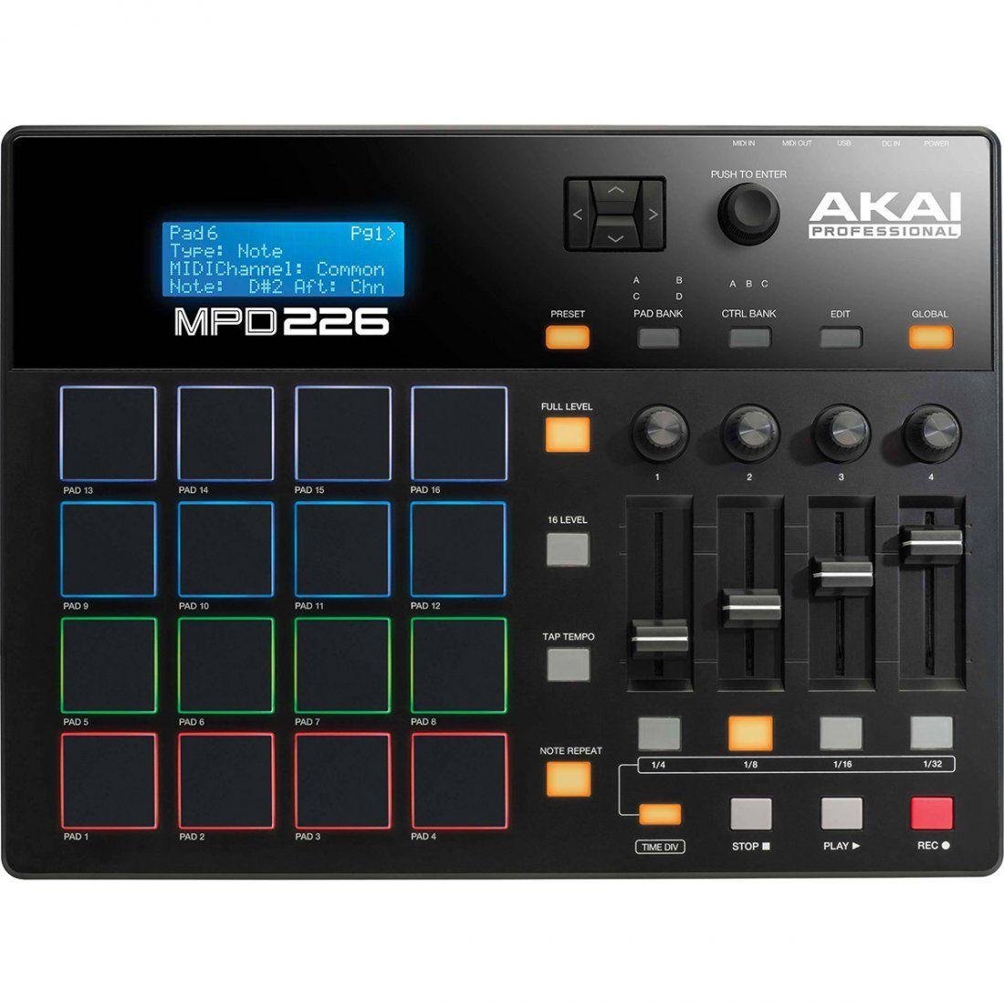 Akai MPD226 Sampler Controladora MPD 226 16-Pads BeatMaker Produção Musical Ableton