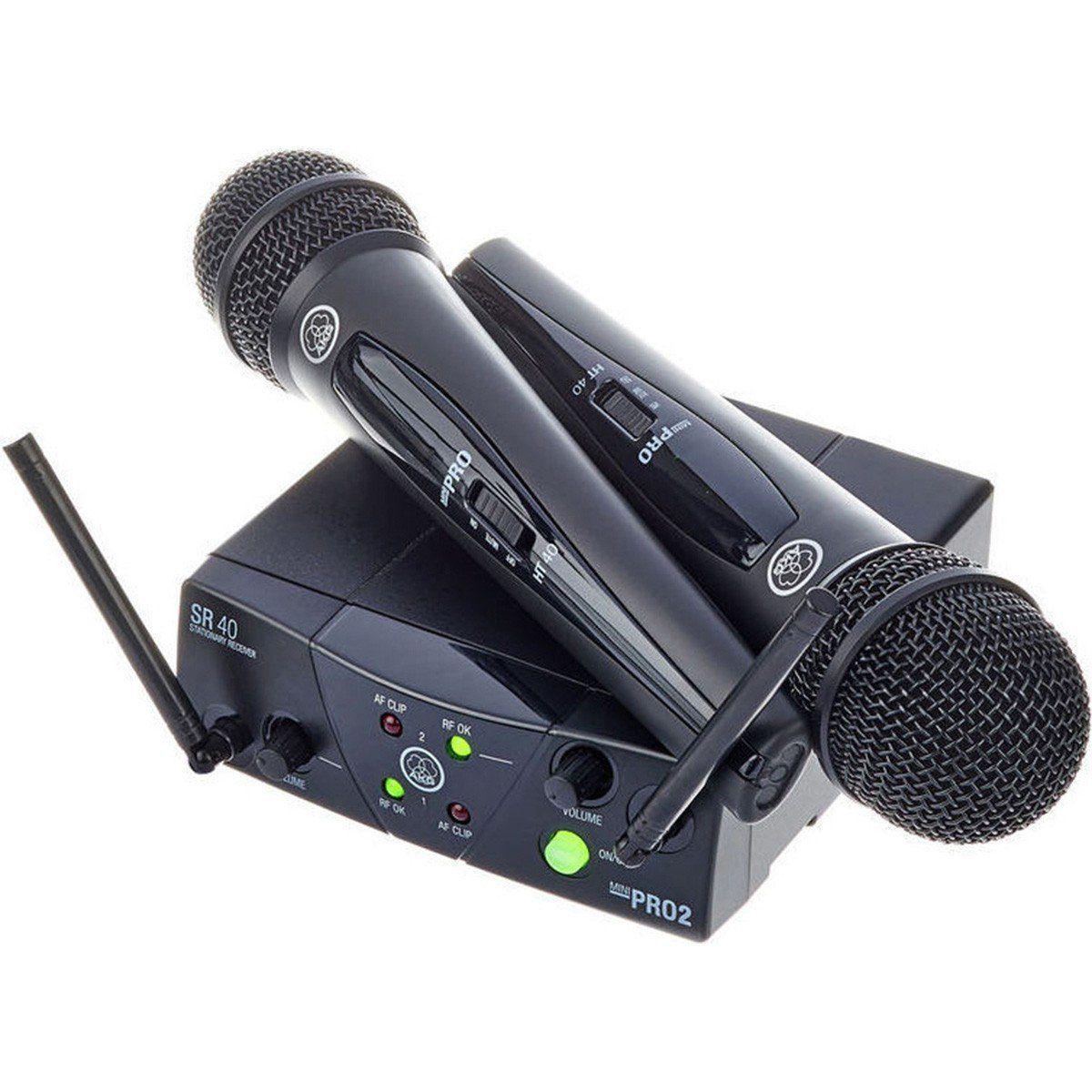 Akg WMS40 Mini Dual Vocal Set Microfone Sem Fio Akg WMS-40 Mini Duplo Vocal Set