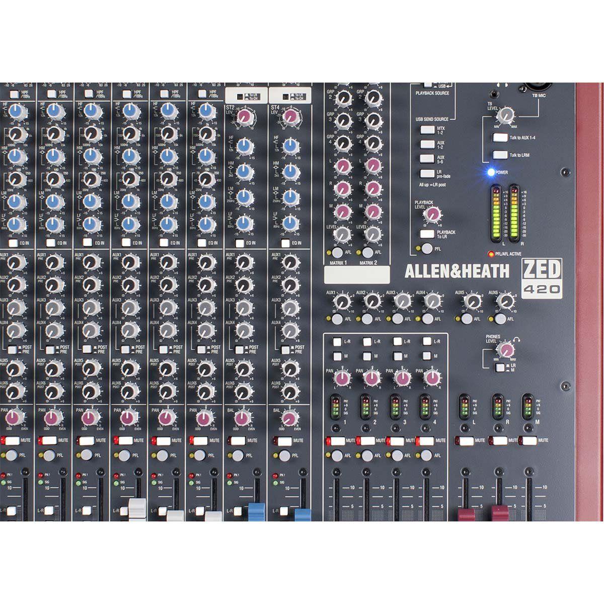 Allen Heath ZED 420 Mesa de Som ZED-420 Analógica de 20 Canais para Gravação ao Vivo