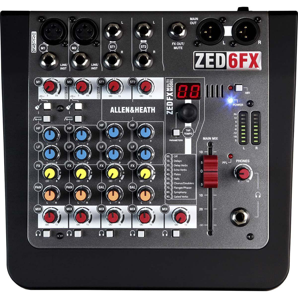 Allen Heath ZED 6Fx Mesa de Som ZED-6FX Analógica 6 Canais para Home Studio e Eventos