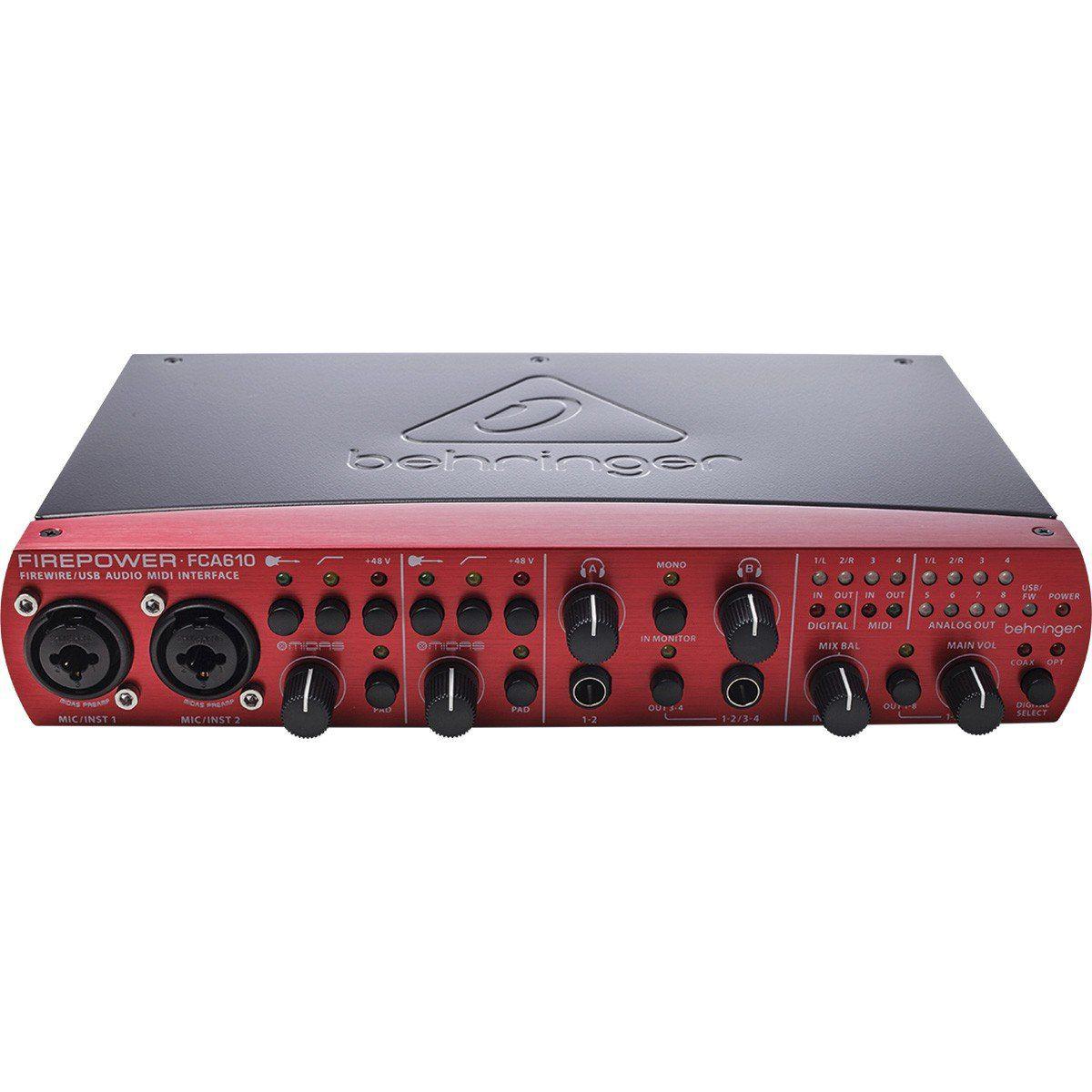 Behringer FCA610 FirePower Interface de Áudio FCA 610 6x10 MIDI FireWire Usb