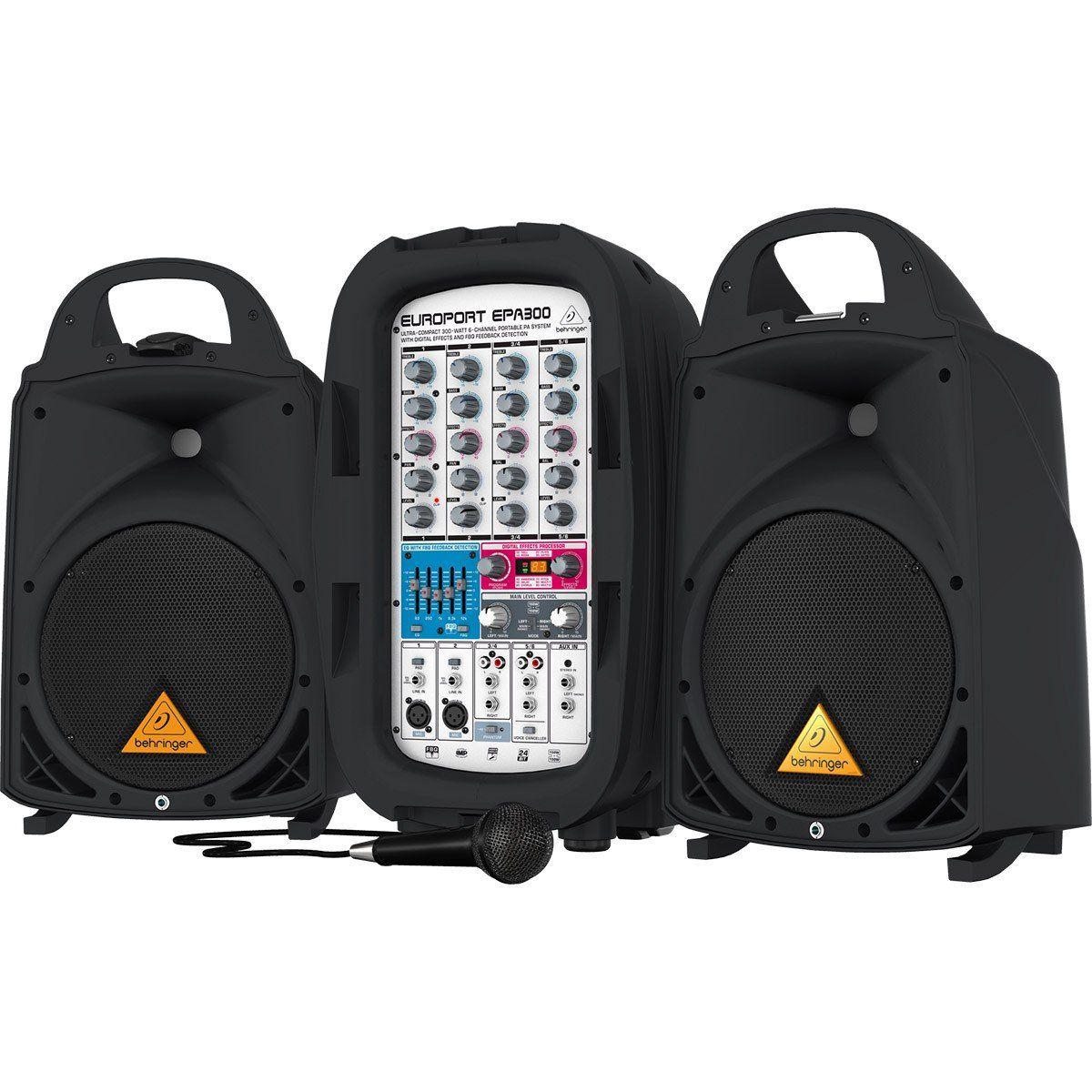 Behringer EuroPort EPA300 Caixa de Som Behringer Kit de Pa 300w com Mixer e Microfone
