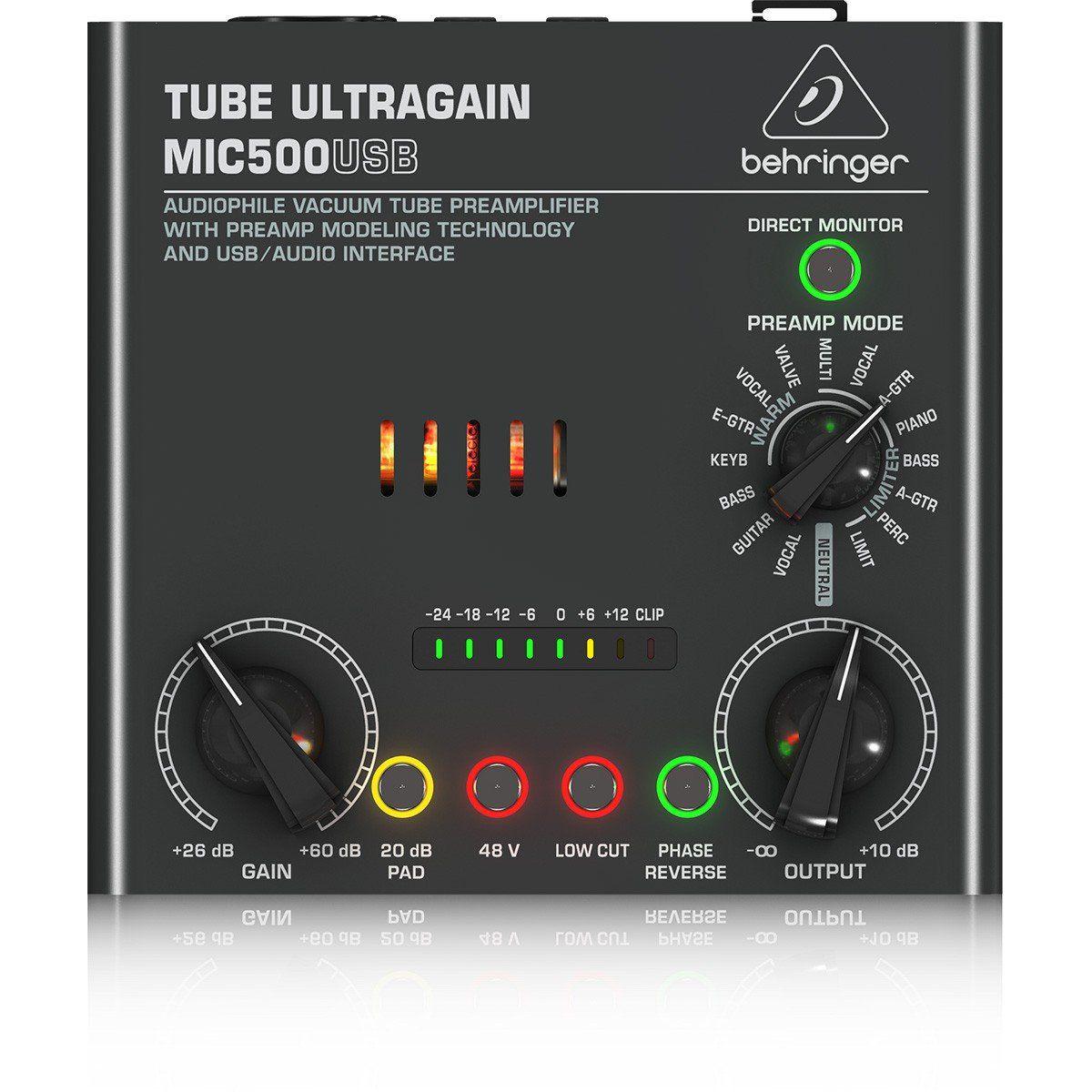 Behringer Tube Ultragain MIC500 Pré Amplificador Tube Ultragain MIC500 Usb Bi-Volt