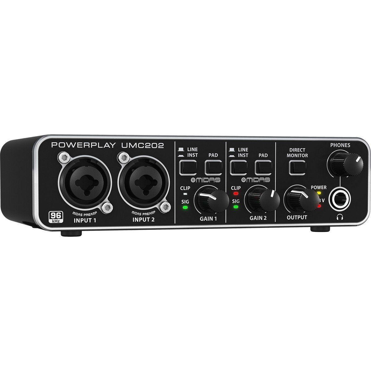 Behringer U-Phoria UMC202 Interface de Áudio UMC-202 2x2 Midas 24-Bit 96-Khz Usb