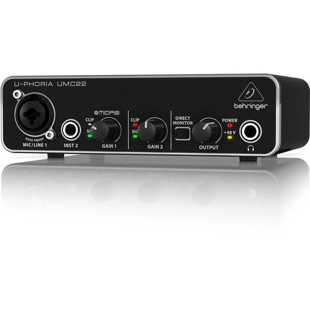 Behringer U-Phoria UMC22 Interface de Áudio UMC-22 2x2 16-Bit 48-Khz Usb