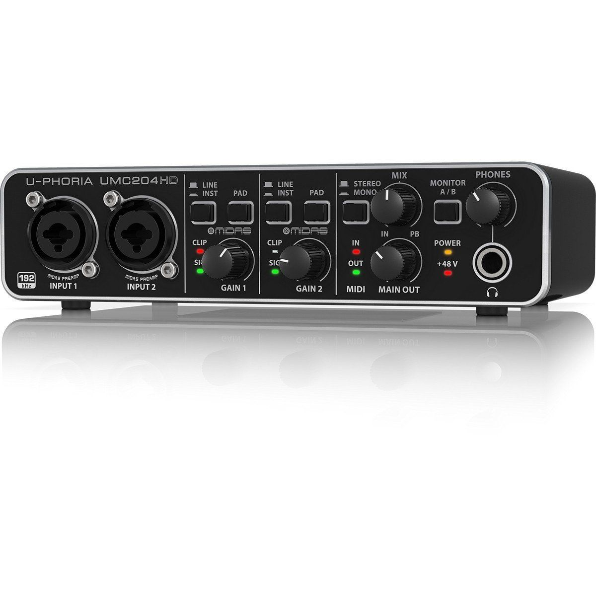 Behringer U-Phoria UMC-204HD Interface de Áudio UMC204HD 2x4 Midi 24-Bit 192-Khz Usb
