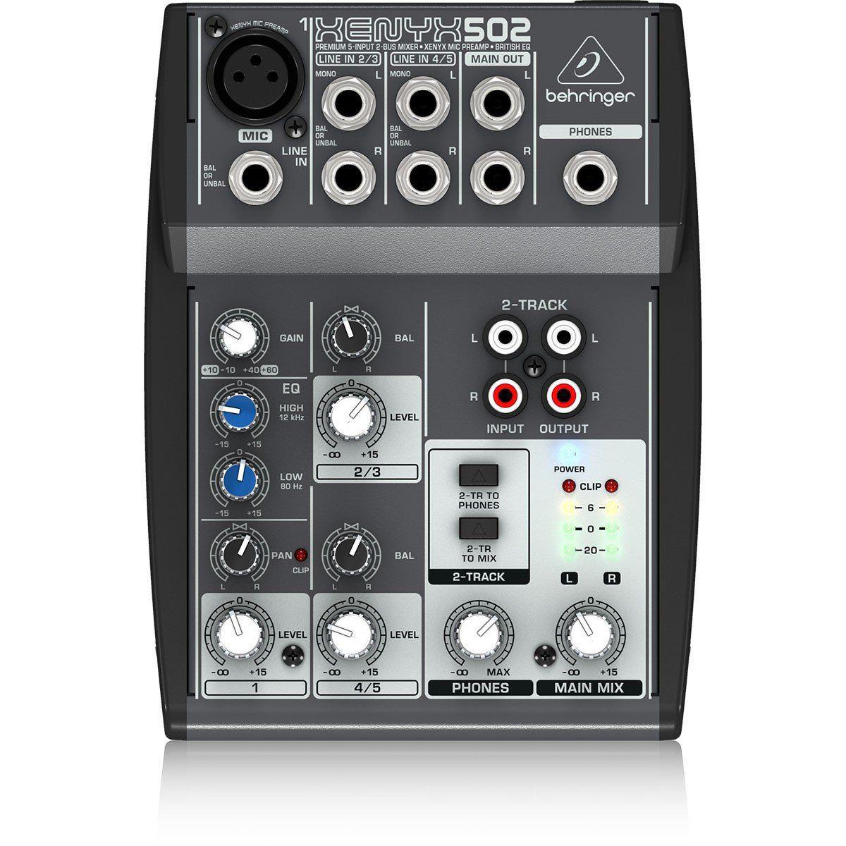 Behringer Xenyx 502 Mesa de Som 502 5 Canais para Performances e Gravação Iniciante