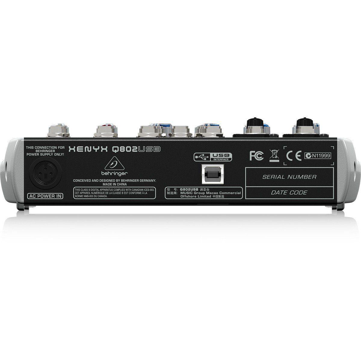 Behringer Xenyx Q802 Mesa de Som Q-802 USB 8 Canais para Gravação e Performances