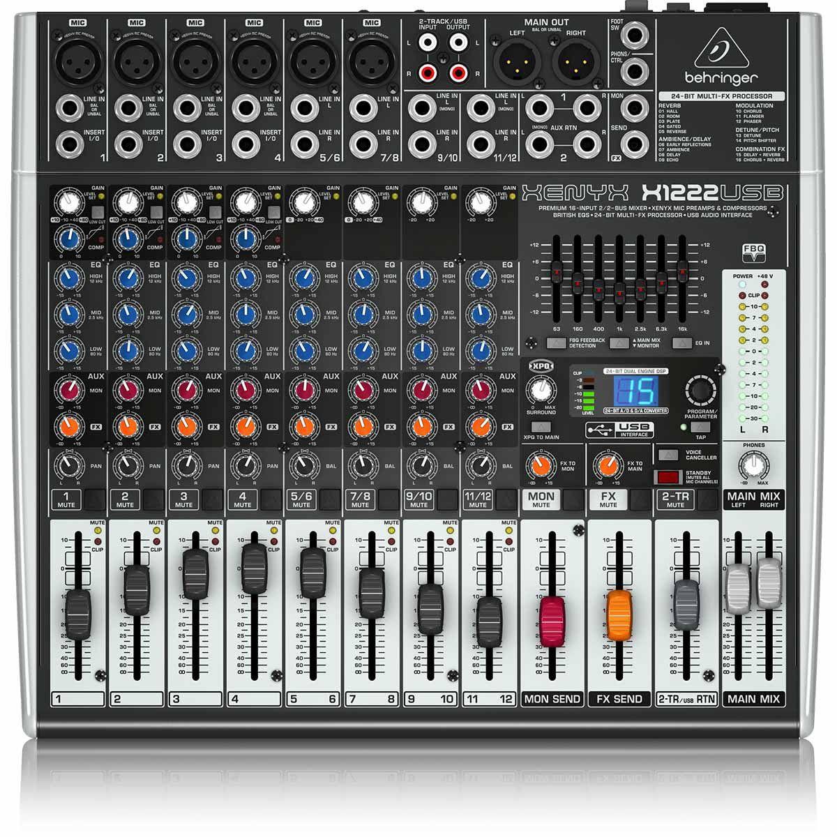 Behringer Xenyx X1222Usb Mesa de Som X-1222-Usb 12 Canais para Gravação e Shows