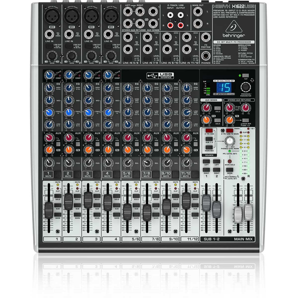 Behringer Xenyx X1622USB Mesa de Som X-1622-Usb 16 Canais para Apresentação e Gravação