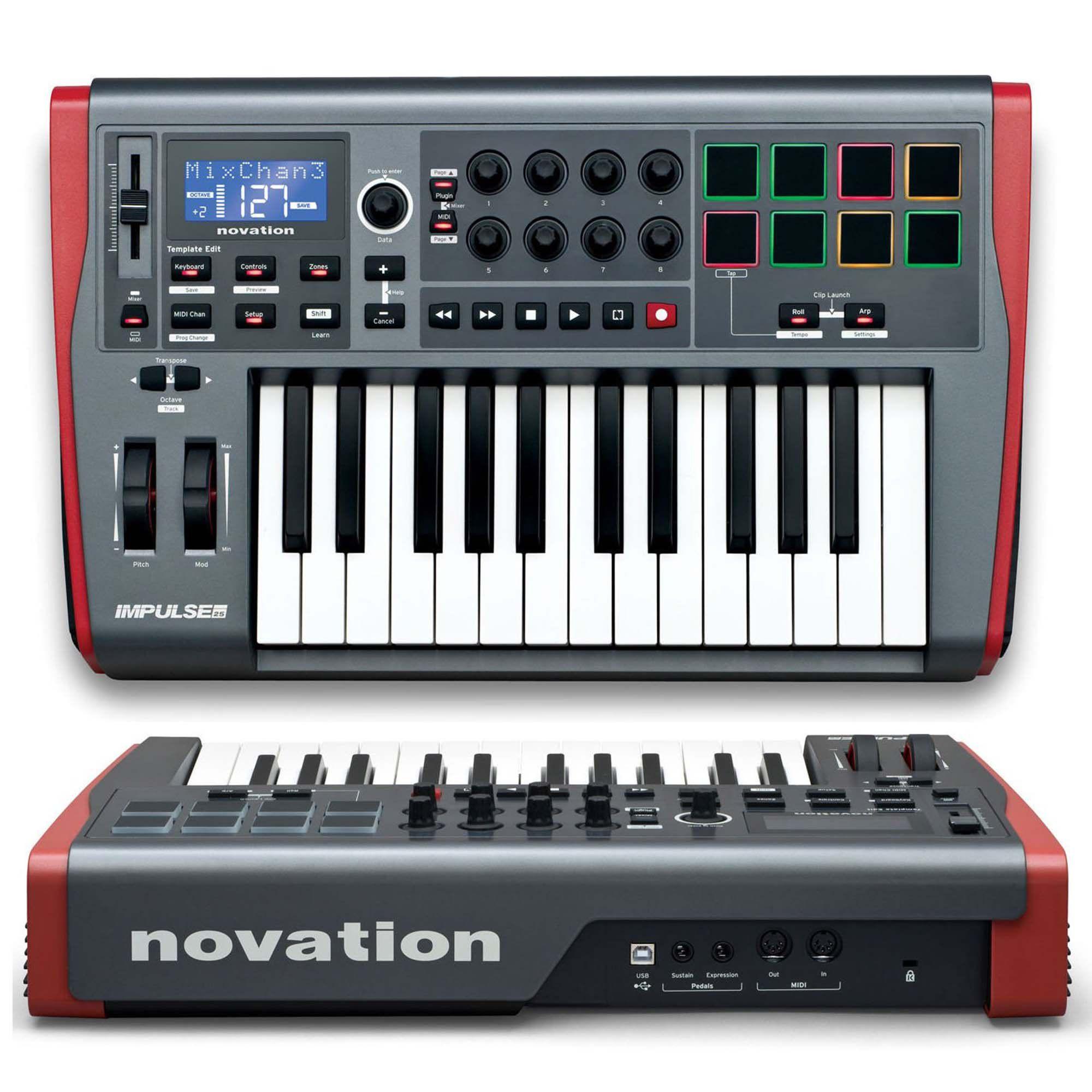 Novation Impulse 25 Compacta Controladora Midi para Produção Musical e Performance