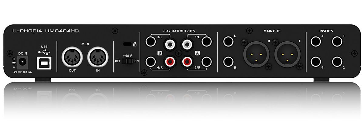 Behringer U-Phoria UMC404HD Interface de Áudio UMC-404HD 4x4 Midas 24-Bit 192-Khz Usb