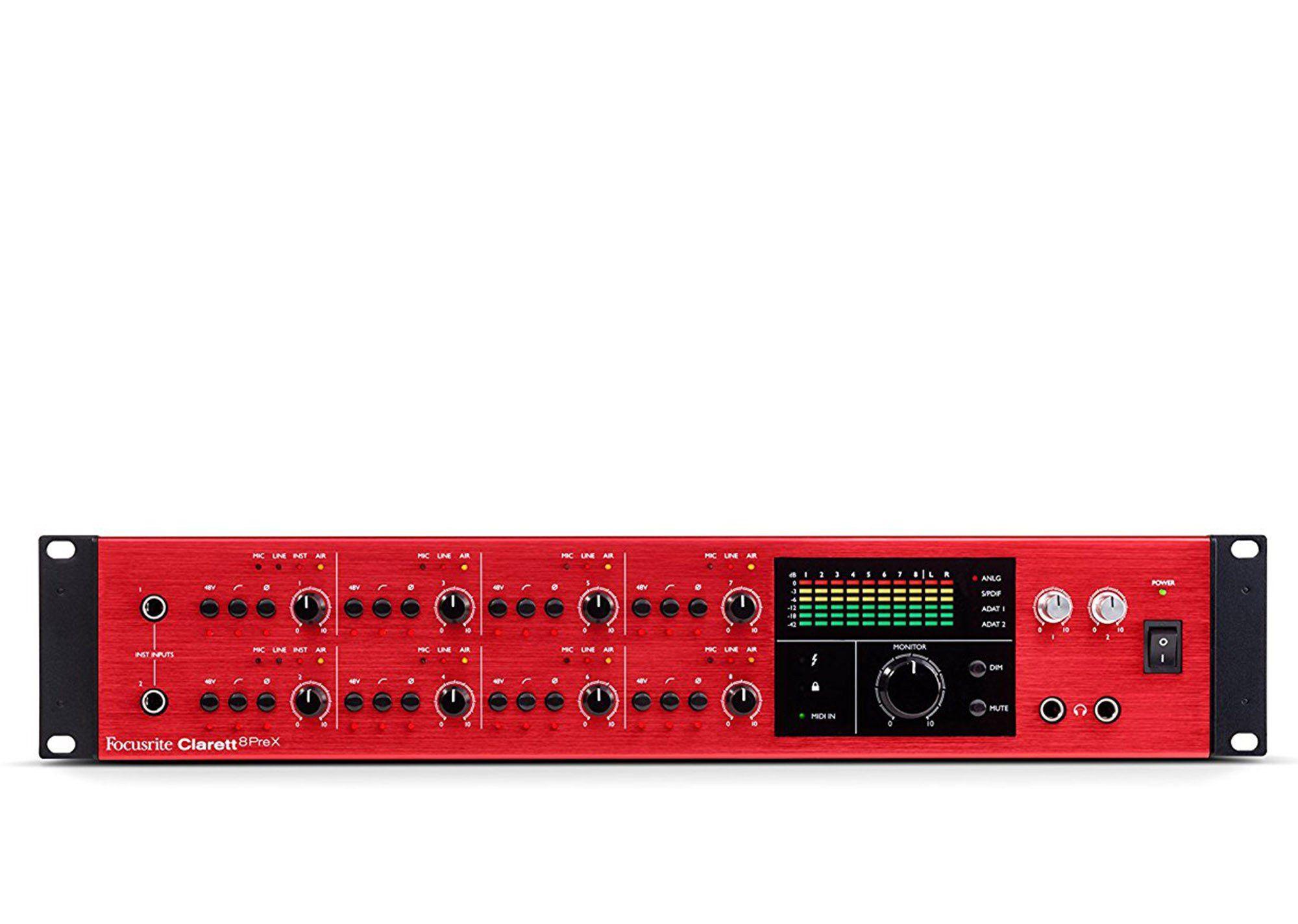 Focusrite Clarett 8PreX Interface de Áudio 8-PreX 26x28 ADAT 24-Bit 192-Khz Rack