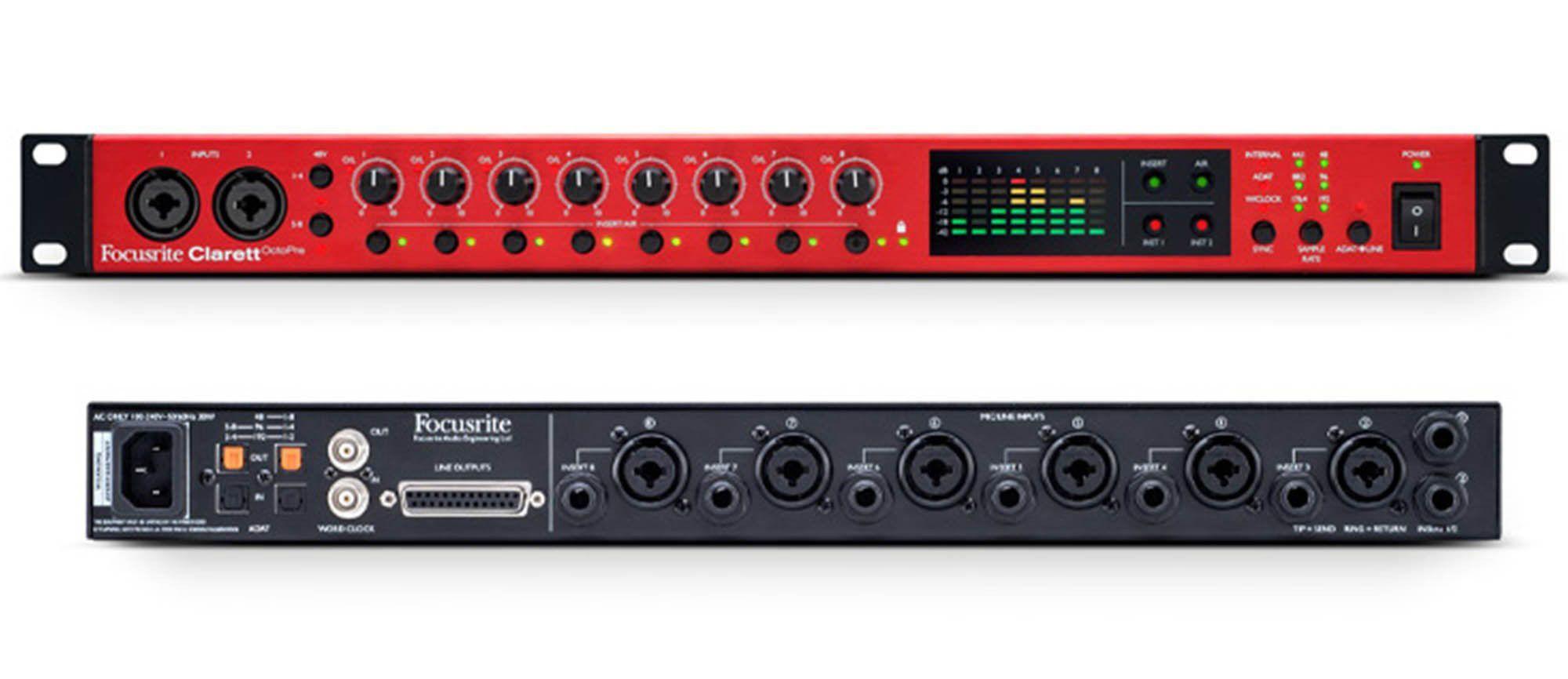 Focusrite Clarett OctoPre Interface de Áudio Octo-Pre 8x8 ADAT Thunderbolt 24-Bit