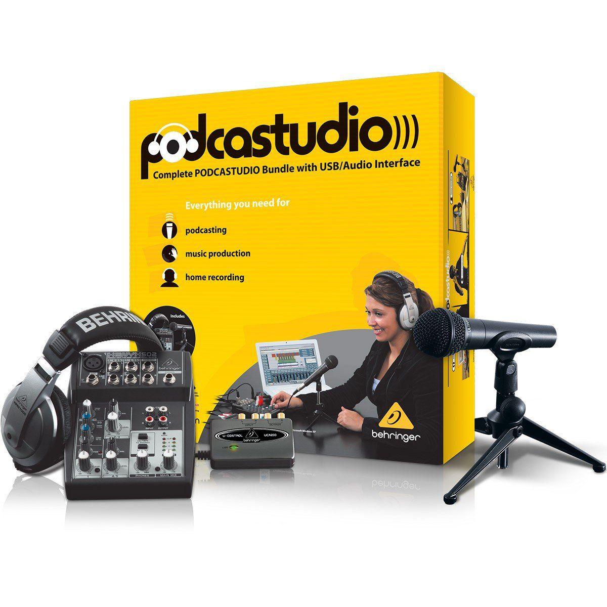 Behringer PodcaStudio Kit Usb de Estúdio PodcaStudio para Produção Musical e Gravação