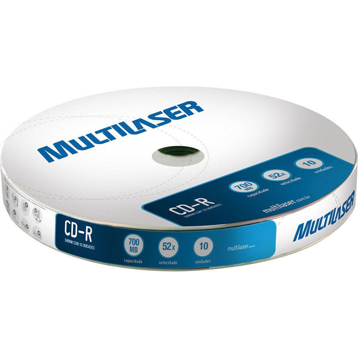 Multilaser CD027 700 MB 52x Shrink Mídia CD-R Pacote com 10 Peças